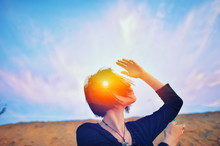 Shaman Ritual, Psychology Freedom, Mystic Power Of Mind Concept Double Multiply Exposure Head Portrait Of A Spiritual Woman Praying Outdoors With Closed Eyes On Nature, Sunrise Or Sunset, Closeup.