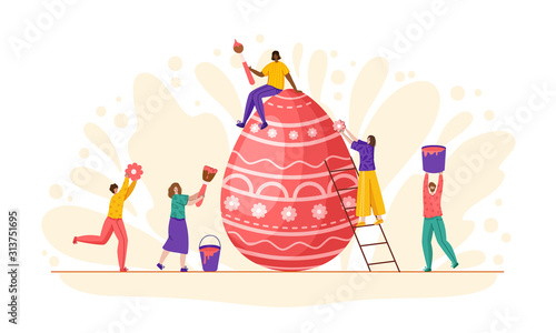 Obraz na plátně Easter Day - miniature people decorate giant easter eggs, tiny man and woman wit