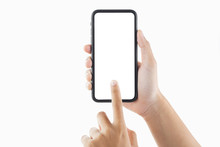 Closeup Hand Woman Holding Black Smartphone Blank Screen And Tiuching Isolate On White Background