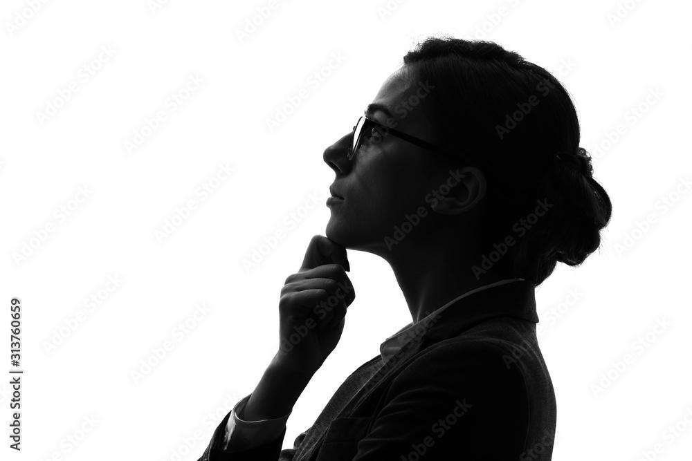 Fototapeta 考えるビジネスウーマン  シルエット