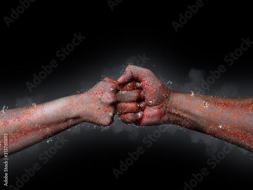 Fotografie, Tablou  拳と拳がぶつかる