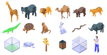 Park Zoo Icons Set. Isometric ...
