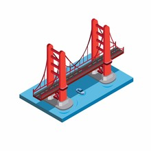 Golden Gate Bridge, San Fransisco, Miniature Landmark Building. Red Bridge In Sea With Blue Boat Underneath Illustration In Isometric Flat Style Eps 10 Editable Vector