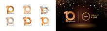 Set Of 10th Anniversary Logotype Design, Ten Years Anniversary Celebration