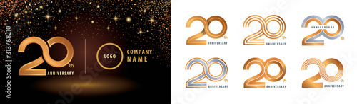 Fotomural Set of 20th Anniversary logotype design, Twenty years anniversary celebration