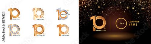 Tableau sur Toile Set of 10th Anniversary logotype design, Ten years anniversary celebration