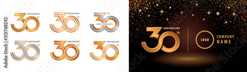 Fotografiet Set of 30th Anniversary logotype design