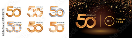 Fotografiet Set of 50th Anniversary logotype design