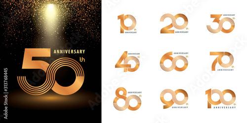 Foto Set of Anniversary logotype design, Celebrating Anniversary Logo multiple line s
