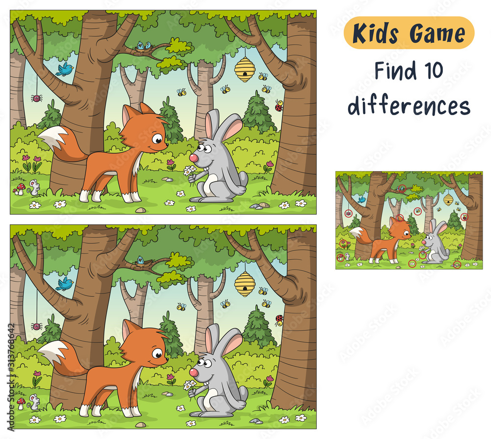 Fototapeta Find 10 differences. Funny cartoon game for kids, with solution. Vector illustration with separate layers.