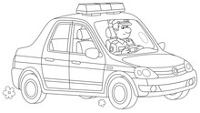 Police Car With A Traffic Policeman On-duty During Patrol, Black And White Vector Cartoon Illustration For A Coloring Book Page