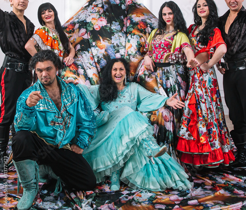 fun dance band in the Gypsy costumes Wallpaper Mural