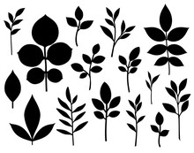 Set Of Decorative Leaf Silhoue...