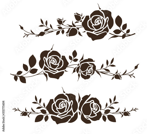 Obraz Decorative ornament with roses. Flower silhouette for wedding card design. Vector illustration - fototapety do salonu