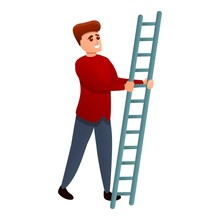 Man Take Ladder Icon. Cartoon Of Man Take Ladder Vector Icon For Web Design Isolated On White Background