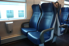 Blue Lined Seats Lined Up Alon...