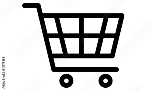 Shopping cart icon on Ideal for e-commerce. Editable lines Fototapeta