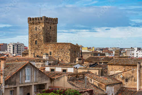 Alleys with old stone buildings at Caceres, Extremadura, Spain.