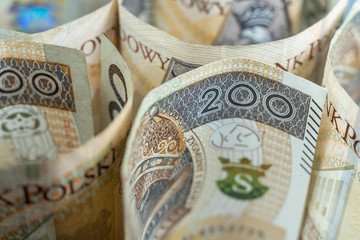 Background with money. Lot of various polish currency. Polish zloty banknotes. Polish money. PLN