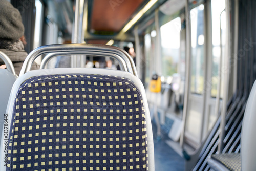Fotografie, Tablou Interior passengers seat of modern city tram public land tramway transport