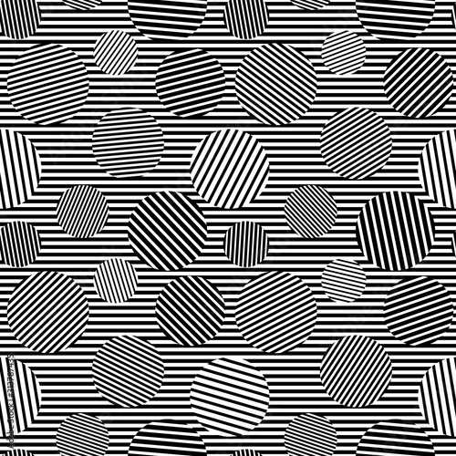 Black white striped circles simple bold geometric hypnotic seamless pattern, vec Canvas Print