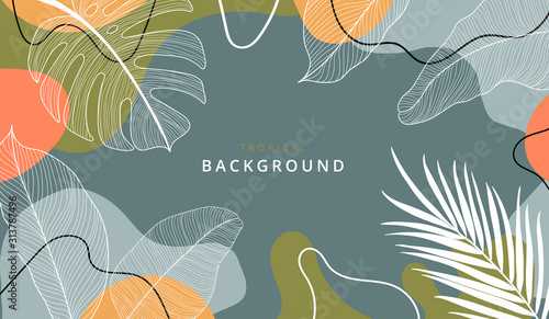 Fototapeta Creative hard paint cover design backgrounds vector. Minimal trendy style organic shapes pattern with copy space for text design for invitation, Party card,Social Highlight Covers and stories page  obraz