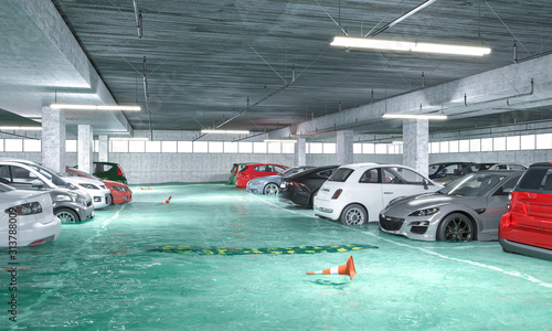 3d render image of a flooded underground parking. Slika na platnu