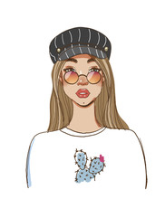 Portrait Of A Modern Fashionable Hipster Girl In Round Glasses And A Cap. Color Sketch Of A Beautiful Woman With Long Hair. Fashion Vector Illustration Isolated On White Background.