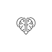 Rational Love, Brain Heart. Vector Logo Icon Template