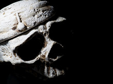 Menacing White Human Skull On A Black Background Close-up. Top View