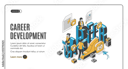 Career development isometric landing page. Businesspeople work in internet using gadgets climbing up by growing data chart. Employees working boost, job 3d vector line art illustration, web banner