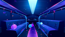 Party Bus Inside. Vector Carto...