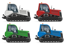 Realistic Tractor Icons Side View Vector Illustration