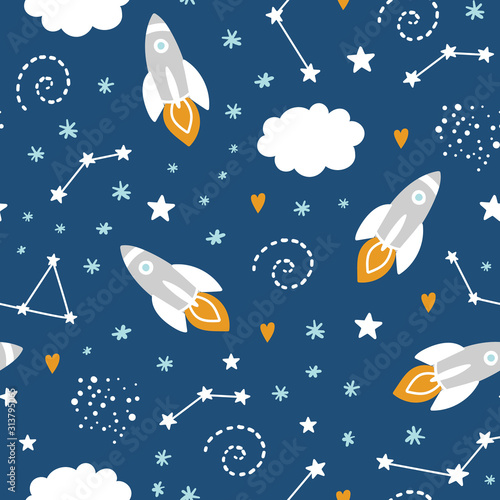 seamless-pattern-with-rocket-and-stars-in-space