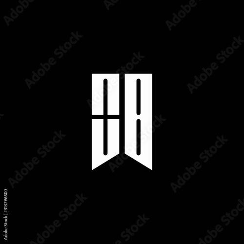 Cuadros en Lienzo  OB logo monogram with emblem style isolated on black background