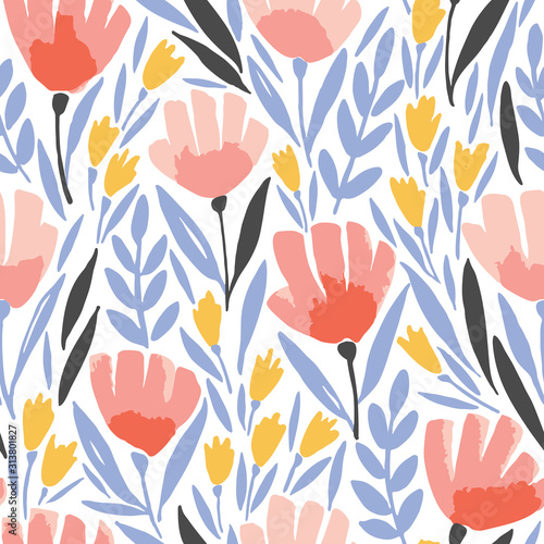 Fototapeta Abstract elegance seamless pattern with floral background. obraz