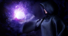 Witch Raise Hand Control Ball-glass To Cast A Black Magic Spell To Background Smoke And Particle Effect From Magic,3d Rendering Picture.