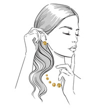 Beauty Illustration. Fashion Portrait Of A Woman With Hands At Her Face Wearing Golden Jewellery