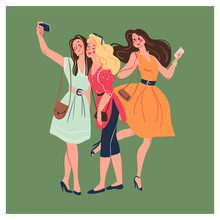 Group Of Young Stylish Beautiful Modern Lady Girls With Smartphones And Making Selfie Together Isolated On Green Background. Vector Flat Illustration.