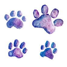 Four Blue-violet Watercolor Do...