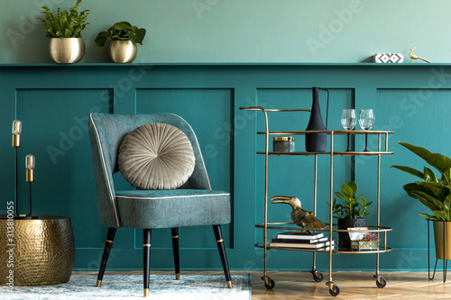 Interior design of luxury living room with stylish armchair, gold liquor cabinet, a lot of plants and elegant personal accessories Canvas Print