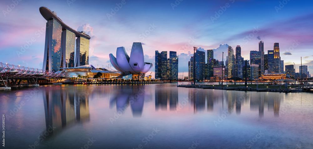 Fototapeta Singapore panorama skyline at night, Marina bay