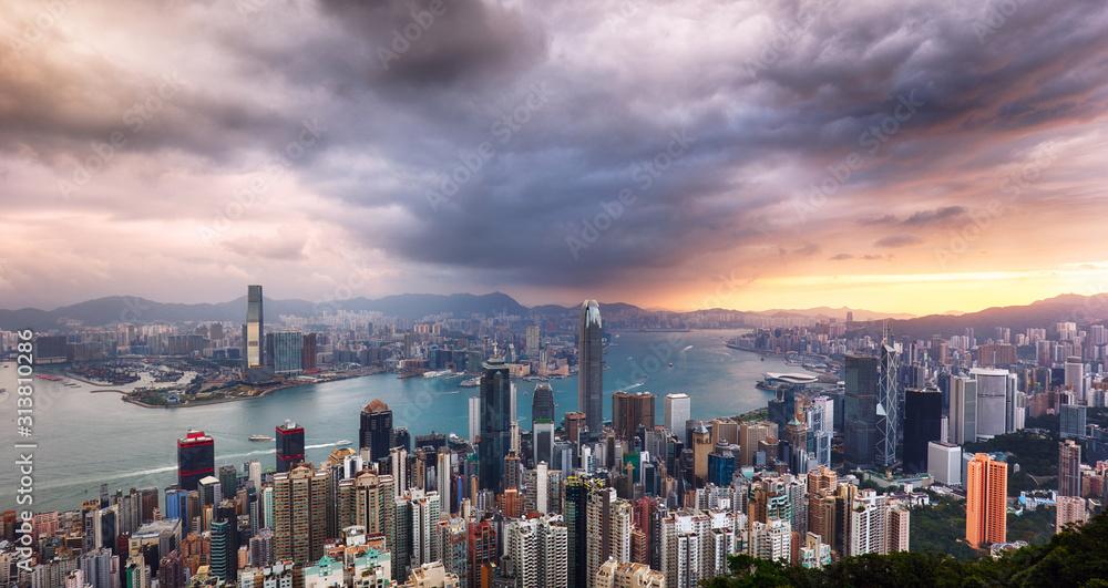 Fototapeta Hong Kong panorama - dramatic sunrise from Victoria peak