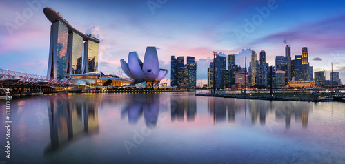 Singapore panorama skyline at night, Marina bay Wallpaper Mural
