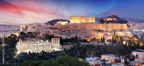 The Acropolis of Athens, Greece, with the Parthenon Temple Canvas Print