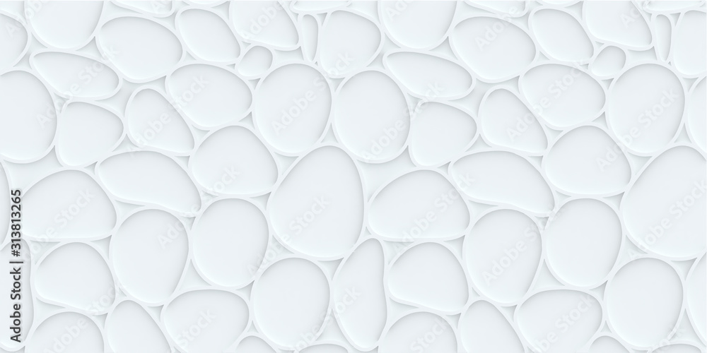 White hexagon pattern background with seamless horizontal wave wall texture. Vector trendy ripple wallpaper interior decoration. Seamless 3d geometry