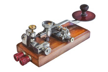 Ancient Morse Code Telegraphy Device Isolated On Whit