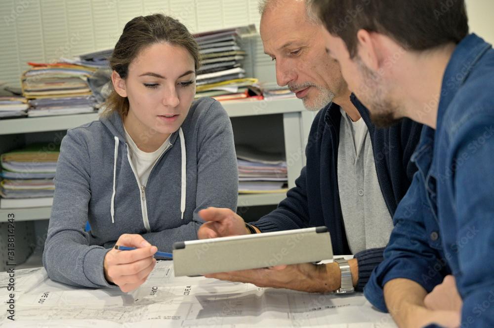 Fototapeta Students in training in engineering office