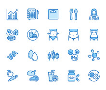 Nutritionist Flat Line Icons S...