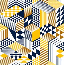 3D Cubes Seamless Pattern Vect...